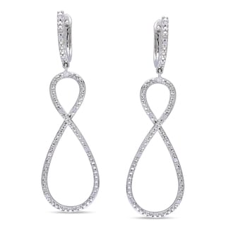 Miadora Sterling Silver 1/10ct TDW Diamond Infinity Dangle Earrings