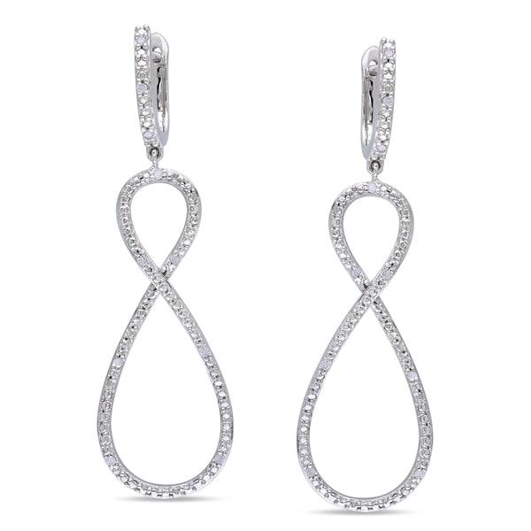 Miadora Sterling Silver 1/10ct TDW Diamond Infinity Dangle Earrings