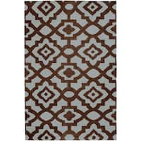 Hand-woven Fullerton Brown Wool Area Rug (2' x 3')
