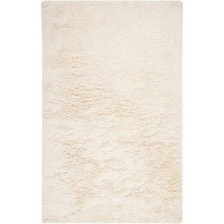 Hand-woven Garden White Wool Soft Shag (2' x 3')