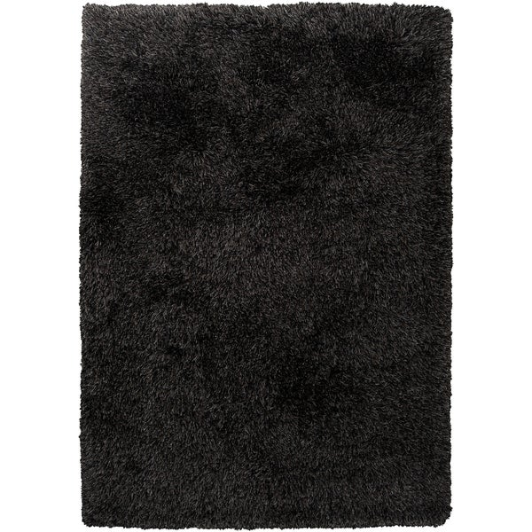 Hand-woven Garza Black Wool Soft Shag (2' x 3')
