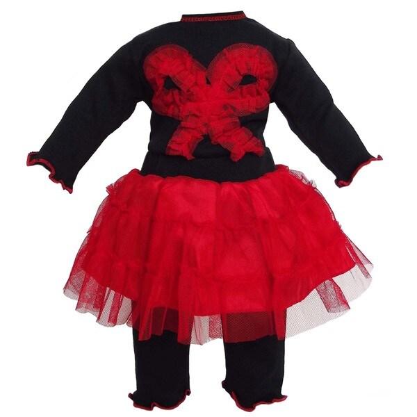 AnnLoren 2-piece Black/ Red Tutu Doll Outfit