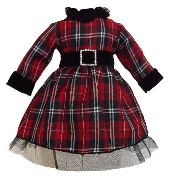 AnnLoren Christmas Red Plaid Doll Dress