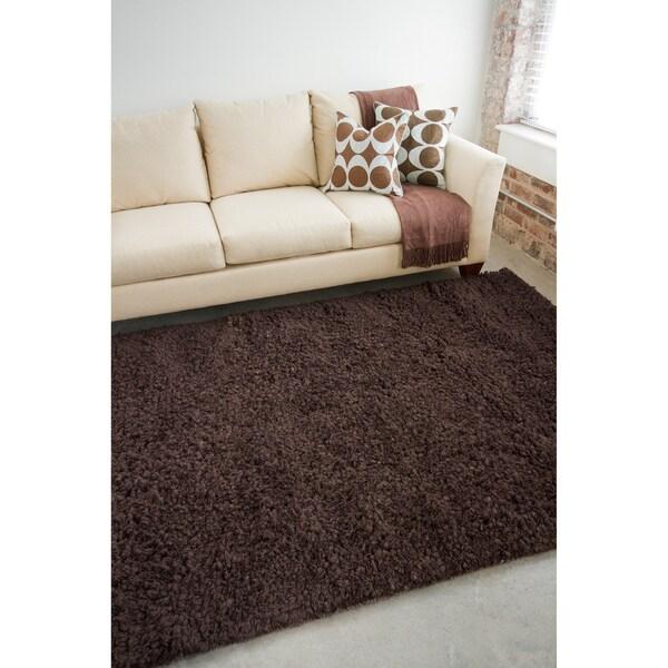 Hand-woven Metropoli Brown Brown Wool Plush Shag Rug (2' x 3')