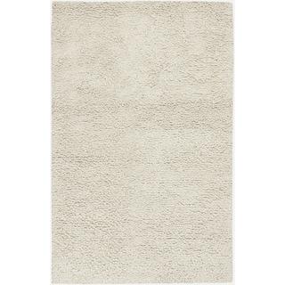 Hand-woven Georgina Ivory Wool Plush Shag Rug (2' x 3')