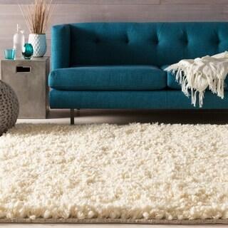 Hand-woven Georgina Ivory Wool Plush Shag Area Rug - 2' x 3'