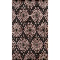 Hand-tufted Girard Black Damask Floral Wool Area Rug - 2' X 3'