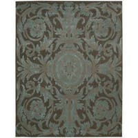 Nourison Hand-tufted Moda Turquoise Chocolate Rug - 7'6 x 9'6