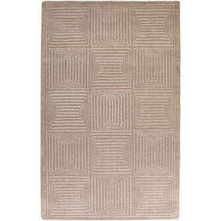 Hand-crafted Solid Beige Geometric Graford Wool Area Rug - 2' x 3'