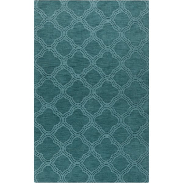 Hand Crafted Teal Green Lattice Grapevine Wool Area Rug 5 X 8