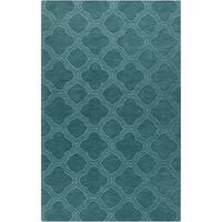 Hand-crafted Teal Green Lattice Wool Area Rug (2' x 3')