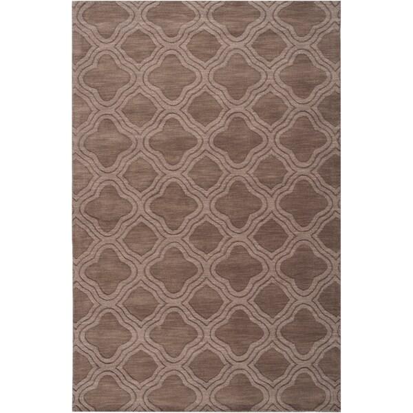 Hand-crafted Light Brown Lattice Greaten Wool Rug (2' x 3')