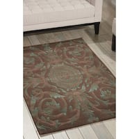 Nourison Hand-tufted Moda Turquoise Chocolate Rug - 5'6 x 7'5