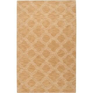 Hand-crafted Beige Lattice Greenfield Wool Rug (2' x 3')