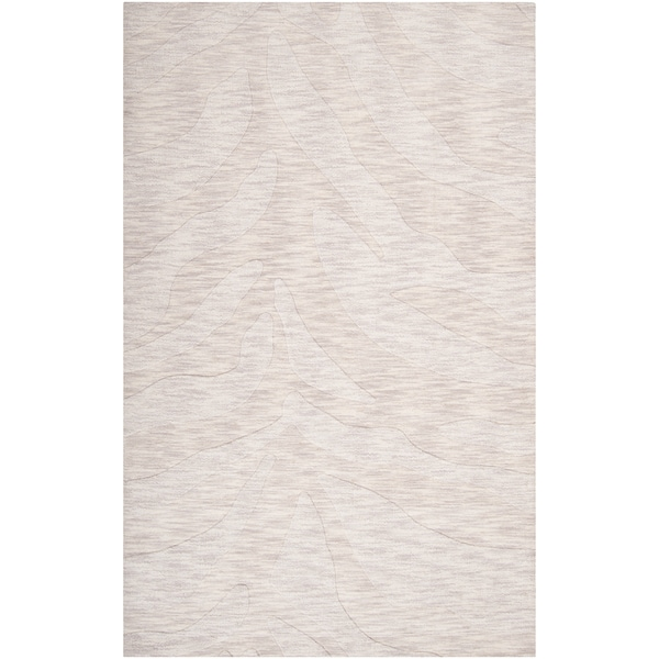 Hand-crafted Solid White Casual Mystique Wool Rug (2' x 3')