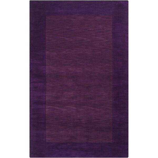 Hand-crafted Purple Tone-On-Tone Bordered Groves Wool Area Rug - 2' x 3'/Surplus