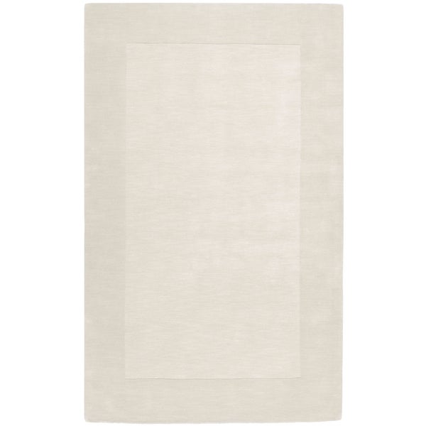 Hand-crafted White Tone-On-Tone Bordered Groveton Wool Area Rug - 2' x 3'