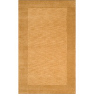 Hand-crafted Gold Tone-On-Tone Bordered Growee Wool Area Rug (2' x 3')