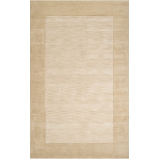 Hand-crafted Beige Tone-On-Tone Bordered Gruver Wool Area Rug - 2' x 3'/Surplus