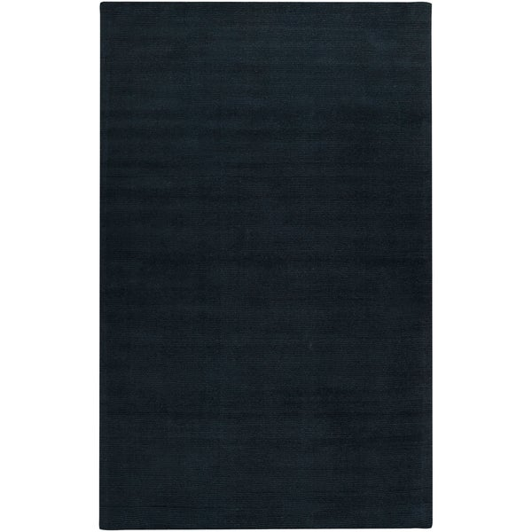 Hand-crafted Navy Blue Solid Causal Gunnison Wool Area Rug - 2' x 3'