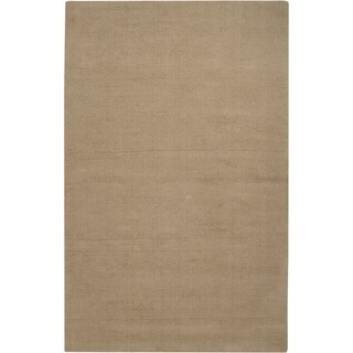 Hand-crafted Beige Solid Casual Guthrie Wool Rug (2' x 3')