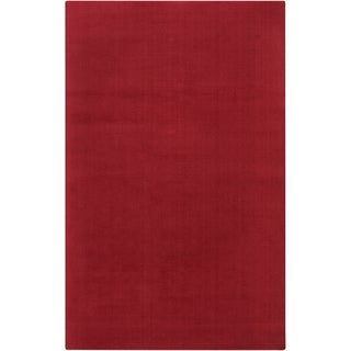 Hand-crafted Red Solid Casual Gutierrez Wool Rug (2' x 3')