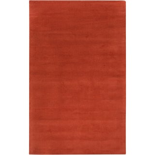 Hand-crafted Orange Solid Casual Gwyndolen Wool Rug (2' x 3')