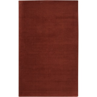 Hand-crafted Rust Red Solid Casual Gwydir Wool Area Rug - 2' x 3'/Surplus