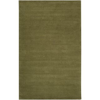 Hand-crafted Solid Green Casual Hackberry Wool Rug (2' x 3')