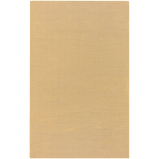 Hand-crafted Solid Beige Casual Haines Wool Rug (2' x 3')