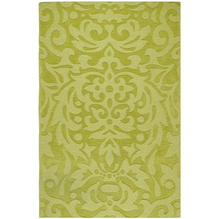 Hand-crafted Green Damask Hale Wool Area Rug (2' x 3')