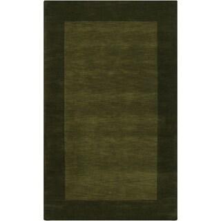 Hand-crafted Green Tone-On-Tone Bordered Half Wool Rug (2' x 3')