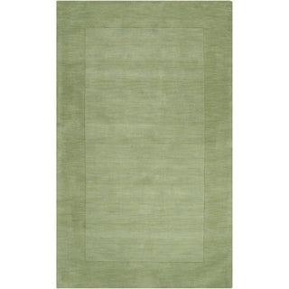 Hand-crafted Moss Green Tone-On-Tone Bordered Hallettsville Wool Rug (2' x 3')