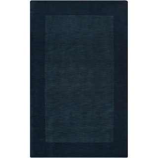 Hand-crafted Navy Blue Tone-On-Tone Bordered Halls Wool Rug (2' x 3')