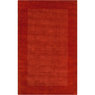 Hand-crafted Orange Tone-On-Tone Bordered Hallsville Wool Rug (2' x 3')