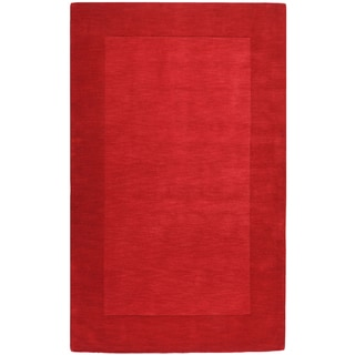 Hand-crafted Solid Red Tone-On-tone Bordered Halsey Wool Rug (2' x 3')