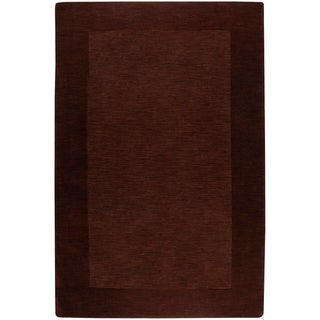 Hand-crafted Solid Brown Tone-On-Tone Bordered Hampstead Wool Rug (2' x 3')