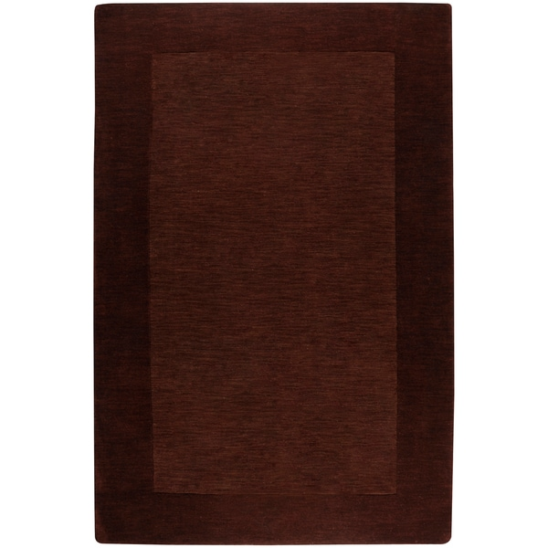 Hand-crafted Solid Brown Tone-On-Tone Bordered Hampstead Wool Area Rug - 2' x 3'