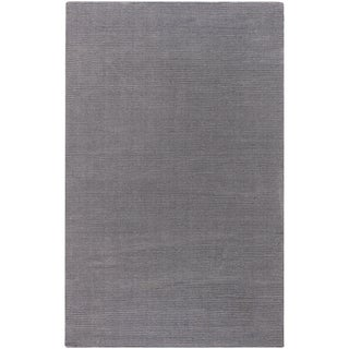 Hand-crafted Solid Grey Casual Hanford Wool Rug (2' x 3')
