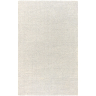 Hand-crafted Solid White Casual Hardin Wool Rug (2' x 3')