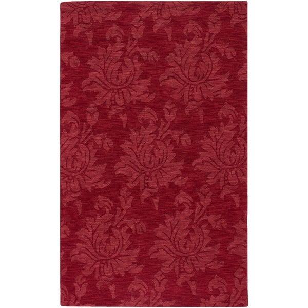 Hand-crafted Solid Red Hargill Wool Rug (2' x 3')