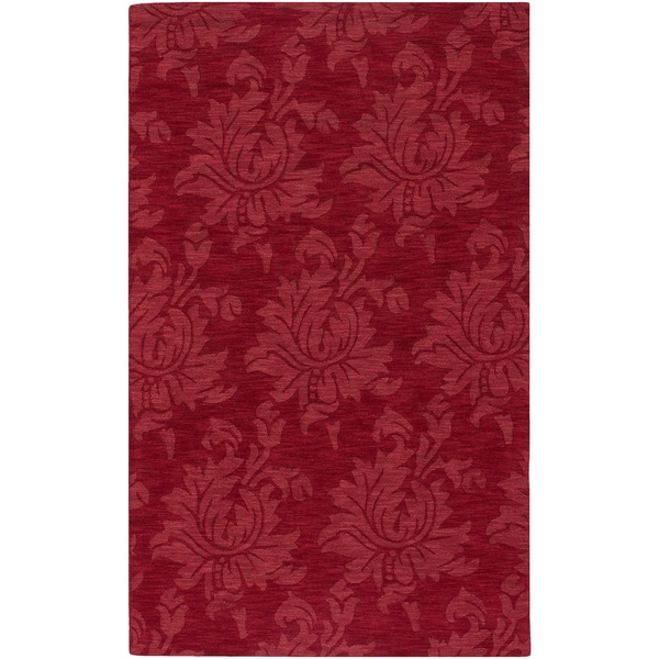 Hand-crafted Solid Red Hargill Wool Area Rug (2' x 3') - 2' x 3'