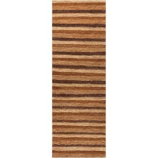Hand-woven Nesbitt Brown Natural Fiber Hemp Rug (2'6 x 8')