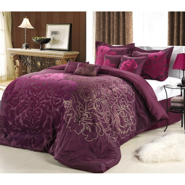 Lakhani 8 piece plum comforter set free shipping today for Exclusive plum bedroom