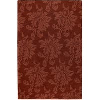 Hand-crafted Solid Red Damask Harper Wool Area Rug - 2' x 3'