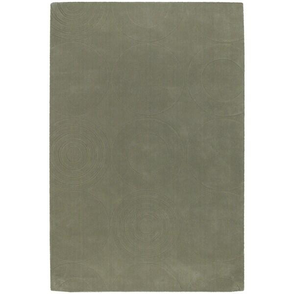 Hand-crafted Green Geometric Harrington Wool Rug (2' x 3')