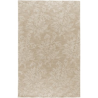 Hand-crafted Solid Ivory Damask Harrisburg Wool Rug (2' x 3')