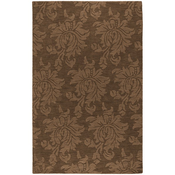 Hand-crafted Solid Brown Damask Hart Wool Area Rug - 2' x 3'