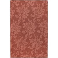 Hand-crafted Haslet Solid Orange Damask Wool Area Rug - 2' X 3'