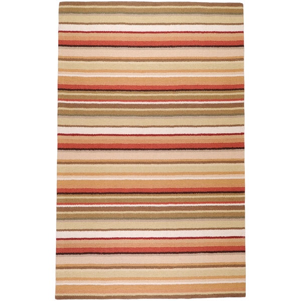 Hand-crafted Beige/Red Striped Causal Havana Wool Rug (2' x 3')